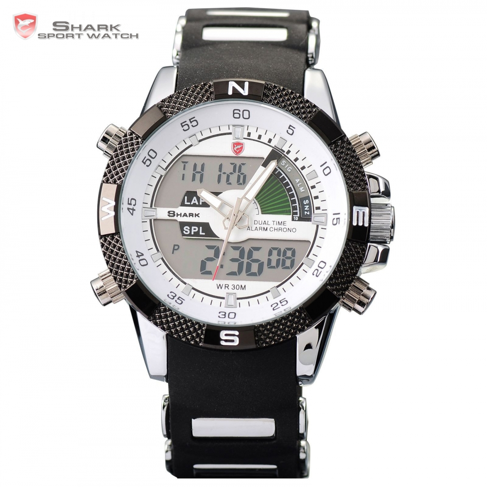 8fde1b83fd5 Porbeagle SHARK Sport Watch Dual Time Date Day Alarm Silicone Band Digital  White Quartz Wrap Military Men Gift Wristwatch  SH041-in Sports Watches  from ...