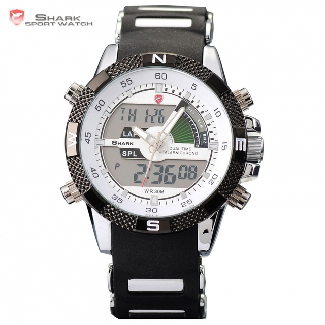 Porbeagle SHARK Sport Watch Dual Time Date Day Alarm Silicone Band Digital White Quartz Wrap Military Men Gift Wristwatch /SH041