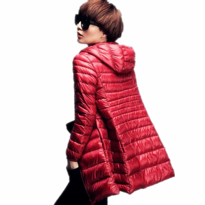 Plus Size 6XL Long Ultra Light Duck Down Jacket Women 2017 Autumn and Winter Hooded Show Thin 90% Down Parka Silm Coat women lightweight and warmth lengthen duck down coat hooded europe fashion winter ultra light parka with belt
