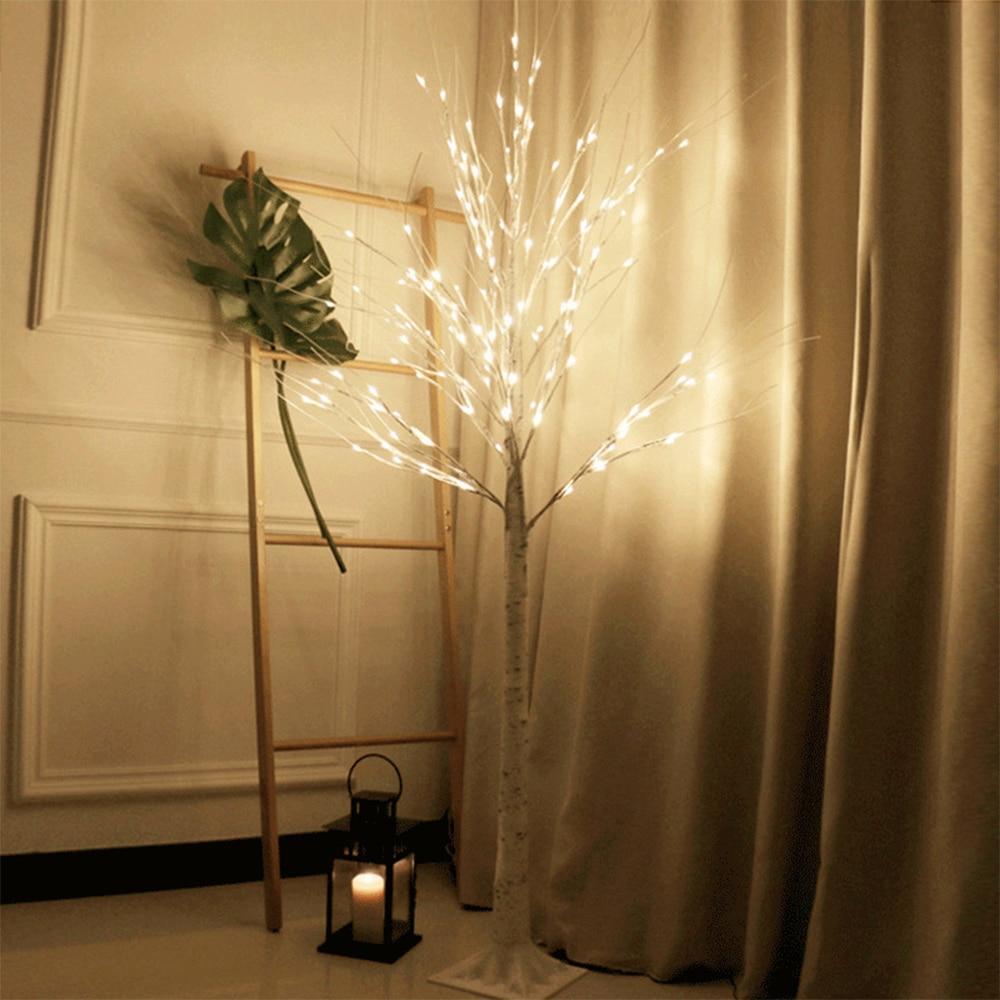 led de prata arvore de betula lampada festival natal decoracao moderna interior branco quente ferias fada
