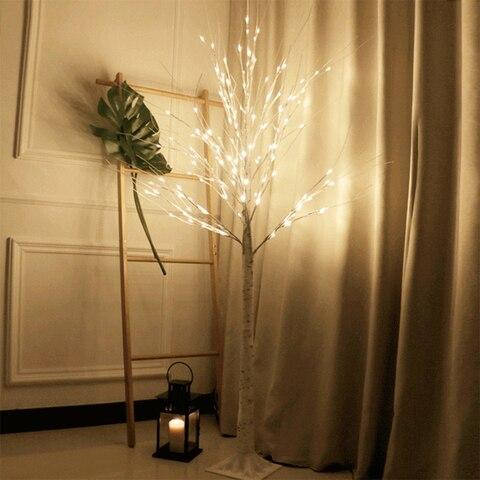 led de prata arvore de betula lampada festival natal decoracao moderna interior branco quente ferias