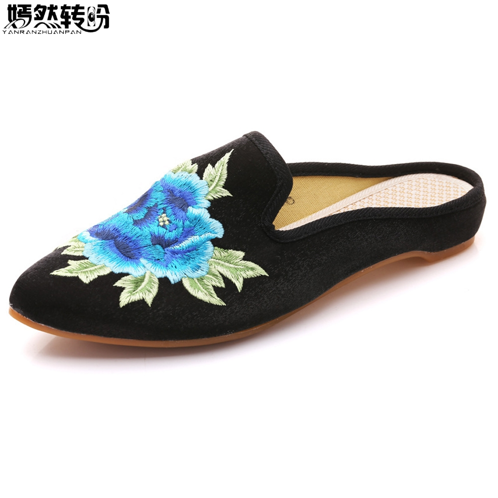 New Women Summer Slippers Pointed Toe Floral Embroidered Faux Suede Sandals Comfort Slip-on Zapatillas Woman Plus Size 41 mnixuan women slippers sandals summer