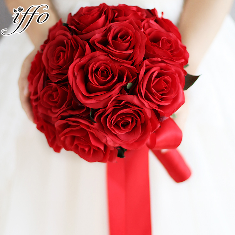 Red Wedding Bouquet Artificial Rose Flowers Bride Bridal