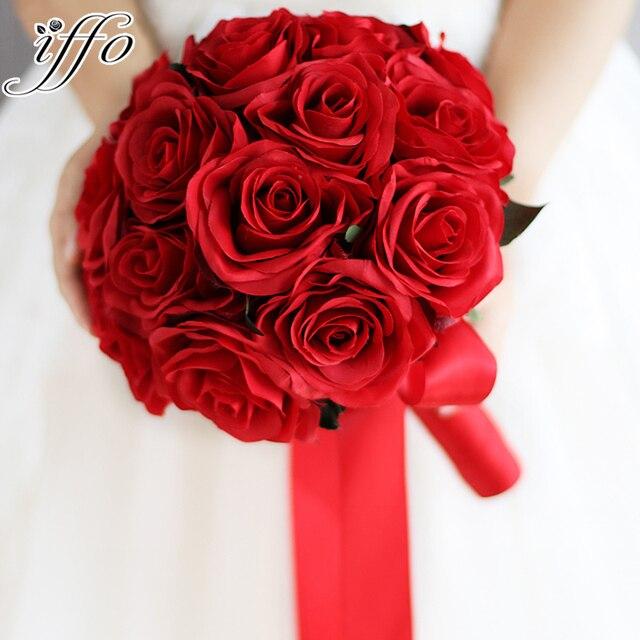 Rouge Bouquet De Mariage Artificielle Rose Fleurs Mariee Bouquet De