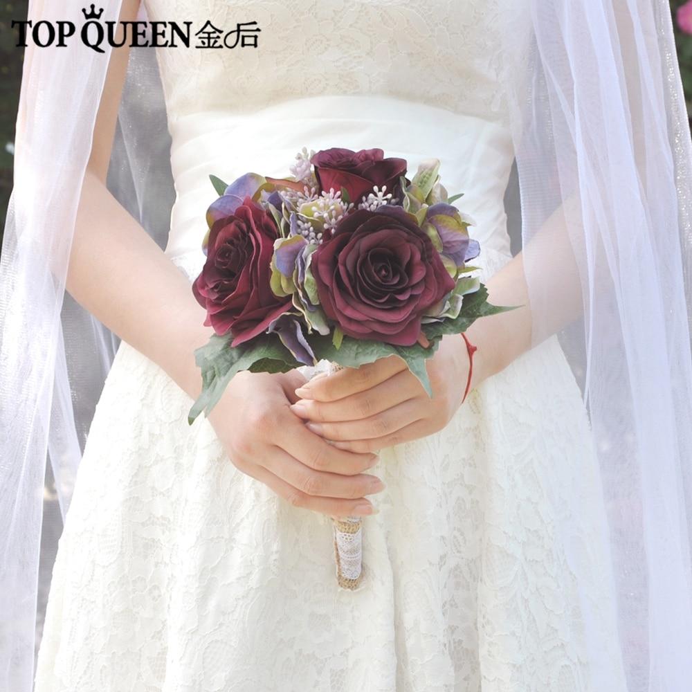 TOPQUEEN F25 Bridal Bouquet Bridesmaid Flower Bouquet Iris Flower Hoop Bouquet Marriage Accessories Decorations Wedding Buquet