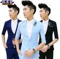 ( Jaqueta + calças ) verão masculino fino de cor sólida de três quartos manga jovem ternos homens, M-xl
