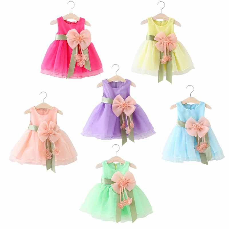 Summer Babys Dress Big Bow Tie Kids Baby Party Wedding Sleeveless Girl Princess Dresses