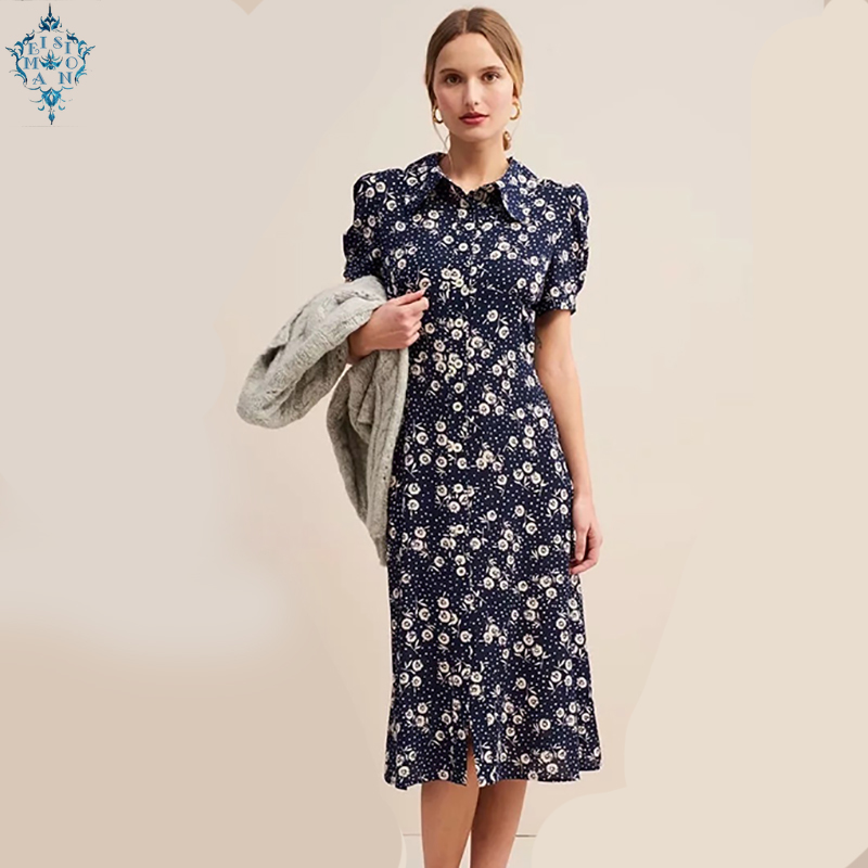 Bazaleas France fitted vestidos Center Buttons Flowing midi dress Vintage Navy Sunflower Print summer Dress drop shipping
