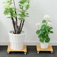 Plant Flower Pot Removable Tray With Roller Pulley Universal Wheel Wooden Bamboo Large Flower Pot Base