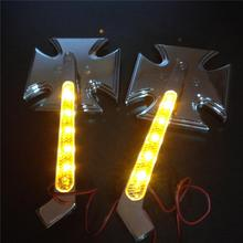 For Motorcycle Honda CBR900RR CHROME Motorcycle LED Turn signal Maltese Cross mirrors
