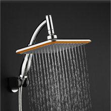 Chuveiro quadrado, abs cromado 9 Polegada, praça, rotativo superior, chuva, cabeça de montado na parede, braço de extensão, economia de água, spray de pressão banho