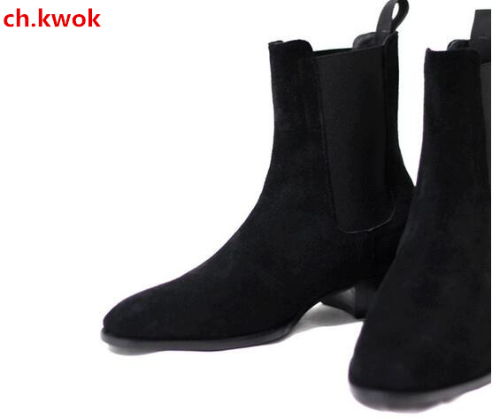 2018 Male Motorcycle Boots Men Suede Martin Boots Men Stacked Heel Slip-On Shoes Nubuck Leather Chelsea Boot Ankle Men Shoes цены