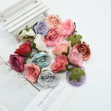 5 sztuk sztuczne kwiaty ścienne na ślub dekoracje do domu diy boże narodzenie garland sztuczne rośliny na wazony tanie notatnik jedwabne róże tanie tanio Jedwabiu Ślub Róża Kwiat Głowy