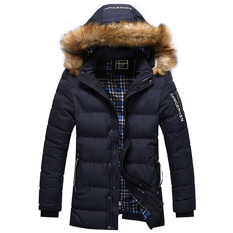 2018 Thicken Warm Winter Duck Down Jacket for Men Fur Collar Parkas Hooded Coat Plus Size