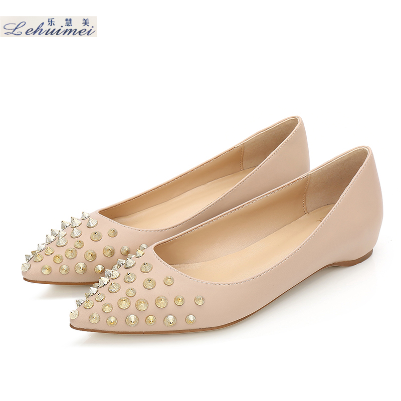 2018 Fashion rivets women flats shoes Sexy Pointed toe lady spring low heels shoes lady party casual suede wedding flats Nude eiswelt shoes spring summer fashion rivet flats party pointed flock women shoes wedding shoes glitter flat ladies shoes zjf84