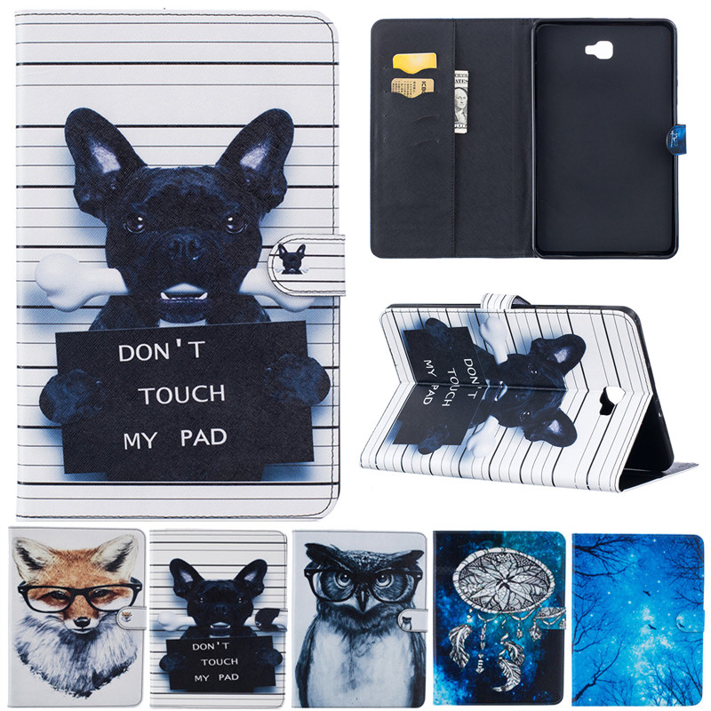 Fashion Cartoon For Samsung Galaxy Tab A A6 10.1 2016 T585 T580 T580N Animal Owl Dog Fox Wallet Card PU Leather Stand Case Cover