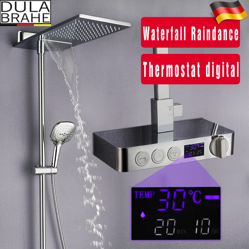 Bathroom Thermostat Shower Faucet Set Hot And Cold Mixer Tap Waterfall Rain Shower Head Chrome Brass Digital Shower SystemBathroom Thermostat Shower Faucet Set Hot And Cold Mixer Tap Waterfall Rain Shower Head Chrome Brass Digital Shower System