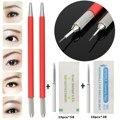 2Pcs Semi-Permanent Eyebrow Tattoo Pen Eyebrow Makeup Manual Microblading Pencil+20pcs Needle Blade