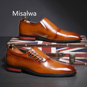 Misalwa 2019 New Formal Leather Dress Men Shoes Brown Red Black Business Suit Versatile Casual Shoes Male Classic Flat Plus Size