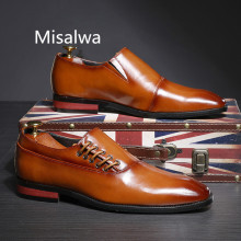 Misalwa 2019 New Formal Leather Dress Men Shoes Brown Red Black Business Suit Versatile Casual Male Classic Flat Plus Size