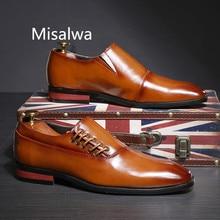 Misalwa 2020 ใหม่หนังอย่างเป็นทางการชุดรองเท้าผู้ชายสีน้ำตาลสีแดงสีดำชุดอเนกประสงค์ชายรองเท้าคลาสสิกแบนขนาด