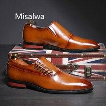 Misalwa chaussures en cuir pour hommes, modèle daffaires polyvalent, modèle marron rouge noir, plat, grande taille, nouvelle collection 2020, modèle chaussures décontractées