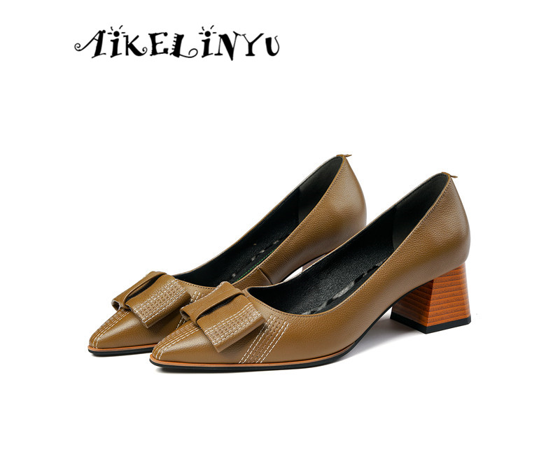 AIKELINYU 2019 Women Pumps Autumn Spring Cow Leather Bowknot Khaki Color Slip on High Heels Lady Shoes Simple Style Party Pumps(China)