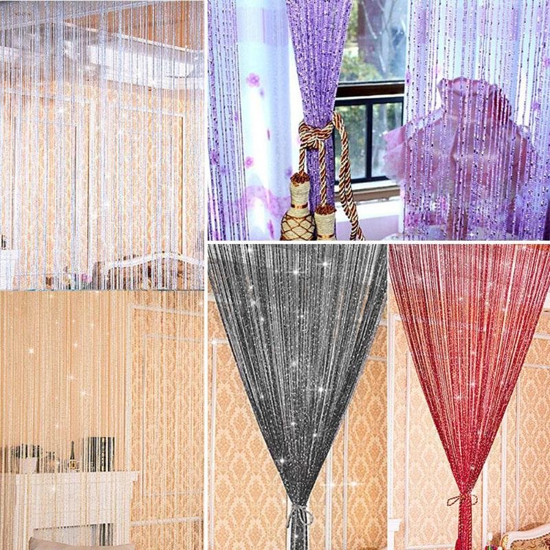 High hanging Shiny Tassel Silver Line String Curtain Window Door Divider Sheer Curtain Home Party Decor for living room bathroom