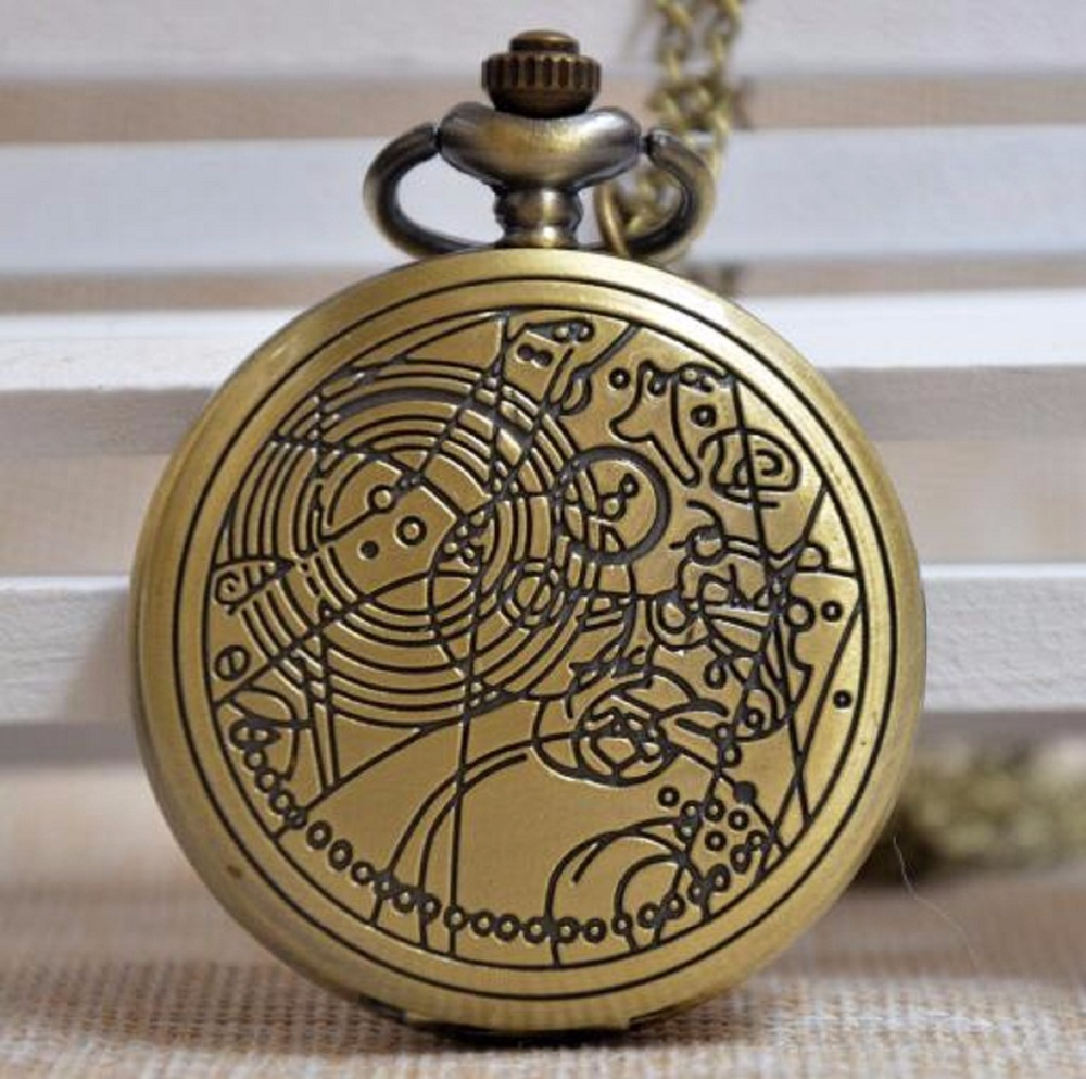 Vintage Bronze Doctor Who Quartz Pocket Watch Fashion Who Style Best Gift TARDIS Time Lord Necklace Pendant Toy