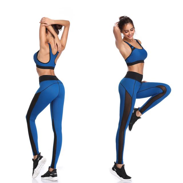 Pants Mesh Patchwork Leggings Sports Vest Running Suits Comfortable Quick Dry Yoga Set Female Gym Wear