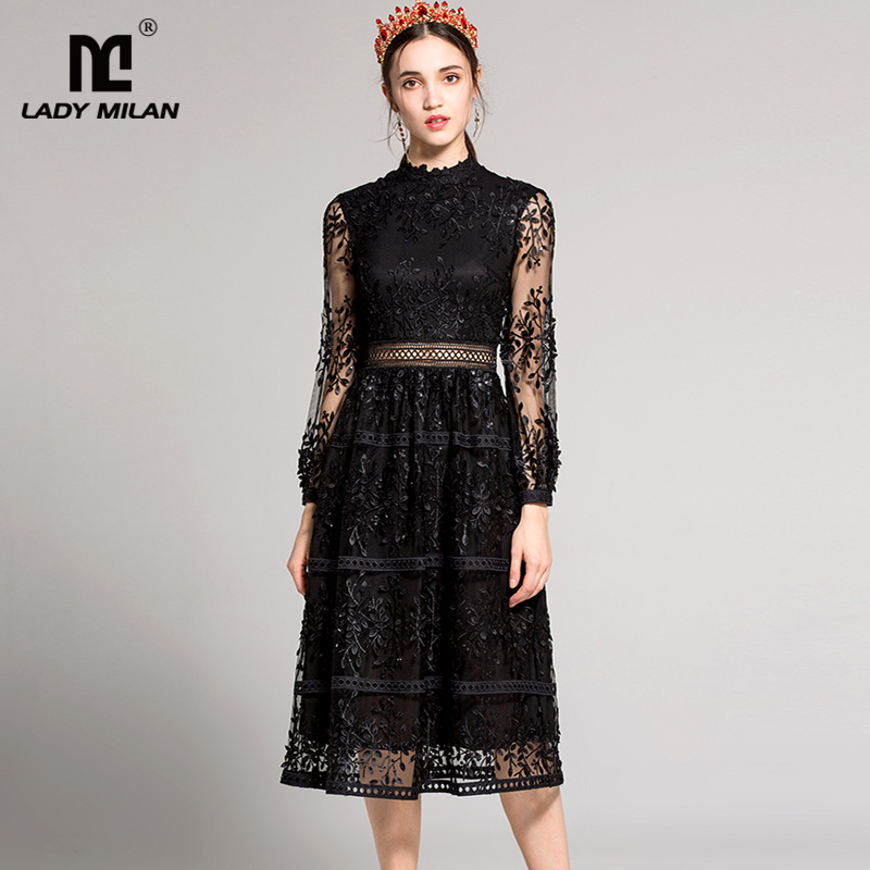 New Arrival 2018 Womens Stand Collar Long Sleeves Embroidery Sexy Hollow Out Patchwork Elegant Party Designer Runway Dresses