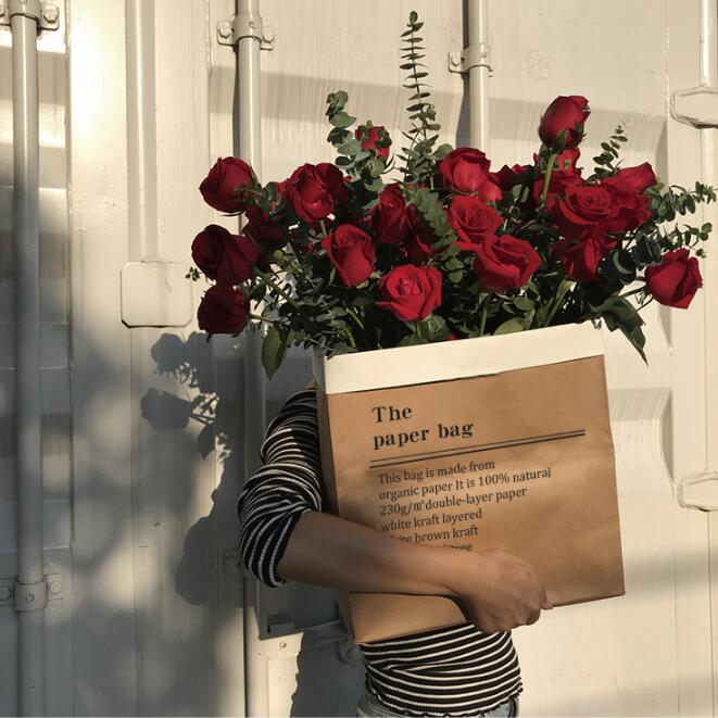 2pcs Kraft Flower Paper Bags Rose Packaging Box Valentine's Day Wedding Engagement Party Decor Supplies Bouquet Gift Packaging