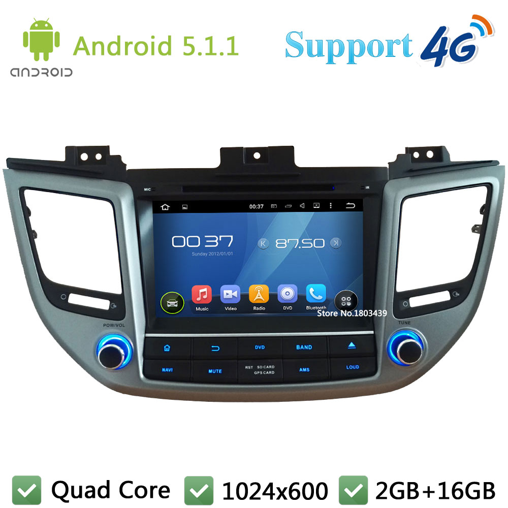 "Quad Core 8"" 1024*600 Android 5.1.1 Car Multimedia DVD Player Radio Stereo DAB+ 3G/4G WIFI GPS Map For Hyundai TUCSON IX35 2015"