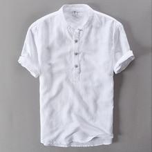 Летняя льняная рубашка белая повседневная мужская рубашка с коротким рукавом крутая гавайская рубашка свободная европейский размер высокое качество