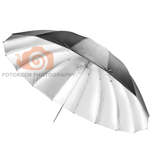 цена на Newest 75 inch  extra-large reflective umbrella 16 Fibre Rib Parabolic Black/Silver Reflective Umbrella shipping free