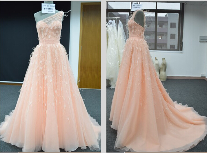 Off The Shoulder Shoulder Lovley Formal Evening Party Gowns Long Tulle Feather Evening Dresses On Sale Robe Soiree Longue Femme - 3