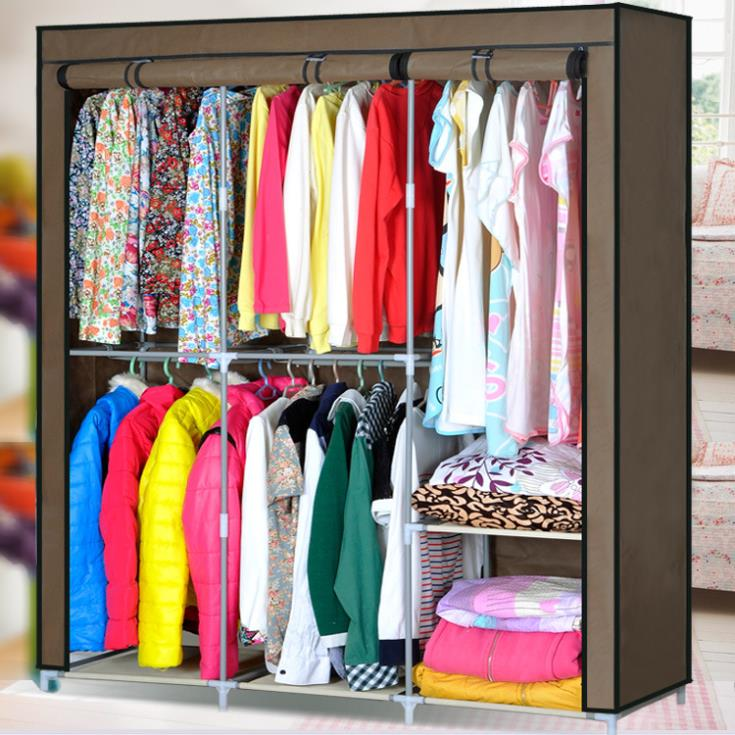 Simple Hanging Clothe Wardrobe Fashion Easy Folding Sundries Storage Closet  New Dust_proof Portable Clothe Cabinet In Wardrobes From Furniture On ...