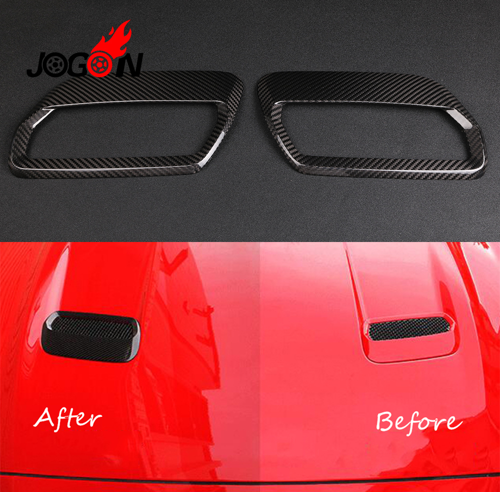 Car Front Engine Hood Air Vent Molding Cover Trim For Ford Mustang 2018 2019 Real Carbon Fiber