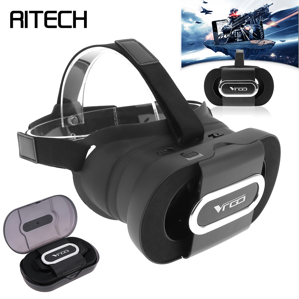 VRGO Foldable Portable Head-mounted 3D Virtual Reality VR Glasses With AR Function Storage Box for 4.7 - 6 Inch Phone Smartphone