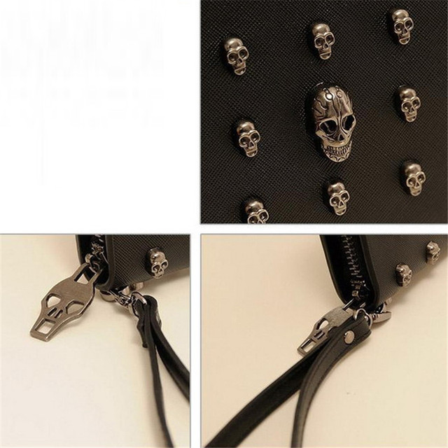 Women Metal Skull Leather Wallet