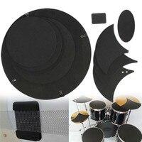 Zebra 10Pcs Rubber Foam Bass Snare Drum Sound Off Mute Silencer Drumming Rubber Practice Pad Set