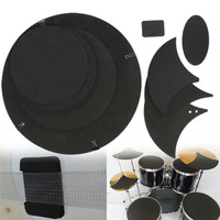 Zebra 10Pcs Rubber Foam Bass Snare Drum Sound Off Mute Silencer Drumming Rubber Practice Pad Set