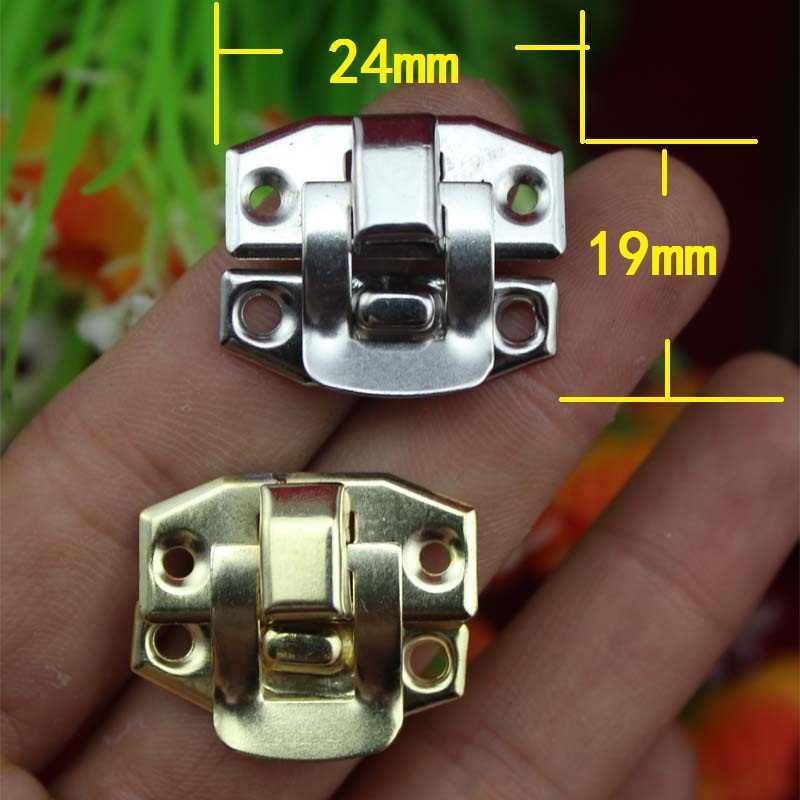Besi antik Kotak Perhiasan Gembok Pengait Terkunci Kayu Anggur Kotak Hadiah Tas Gesper Aksesoris Hardware, 24*19mm, 6 Pcs