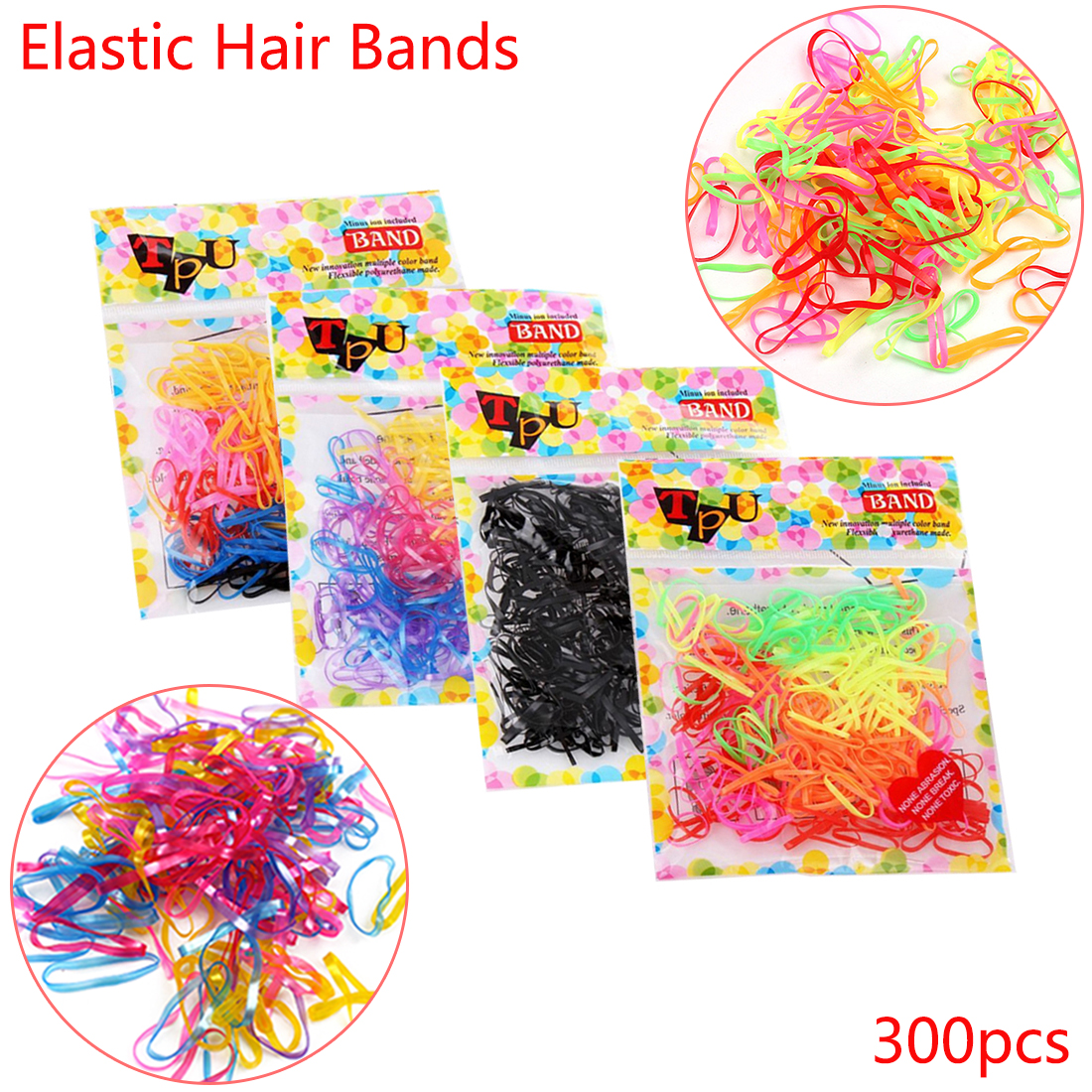 Colorful 300pcs/lot 3cm Headwear Hair Ropes Tie Gum Ponytail Holder Disposable Elastic Hair Bands Hair Accessories for Girls 300 400pcs lot candy color elastic hair bands headwear hair ring ropes ponytail holder one off for girls hair accessories