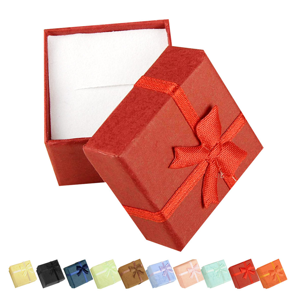 Cheap WX 4*4*3cm Jewelry Earring Bracelet Ring Small Gift Box Red Square Carton Bow Case