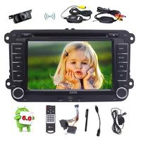 7'' Android 6.0 Quad Core Car Stereo DVD Player Double Din In Dash Head Unit GPS Navigation+External MIC/Wireless Backup Camera
