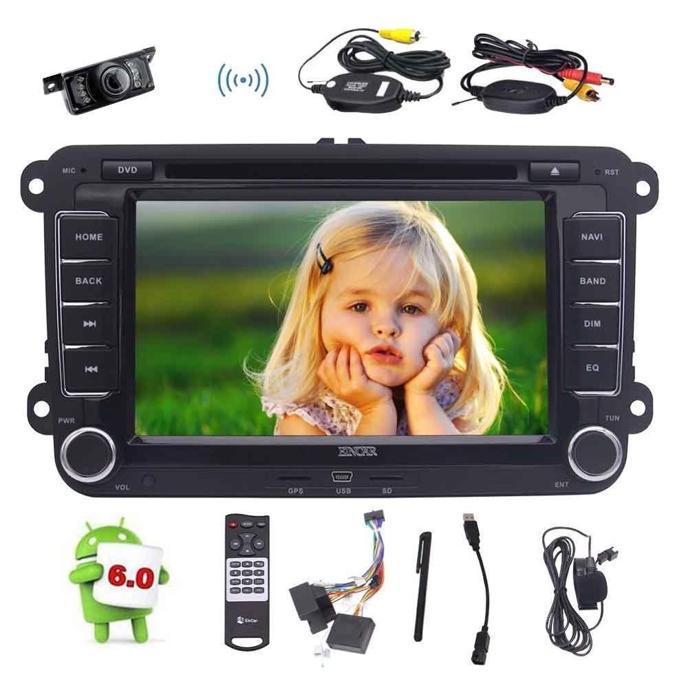 Lecteur DVD stéréo de voiture Quad Core 7 ''Android 6.0 Double Din dans la tête de tableau de bord Navigation GPS + micro externe/caméra de sauvegarde sans fil