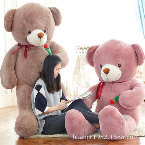 120cm Giant Teddy Bear with Rose Plush Toys stuffed Plush toys teddy bear Stuffed Animals Soft Plush Toys fancytrader 47 120cm giant lovely stuffed soft plush rose lavender teddy bear toy nice gift for kids free shipping ft50739
