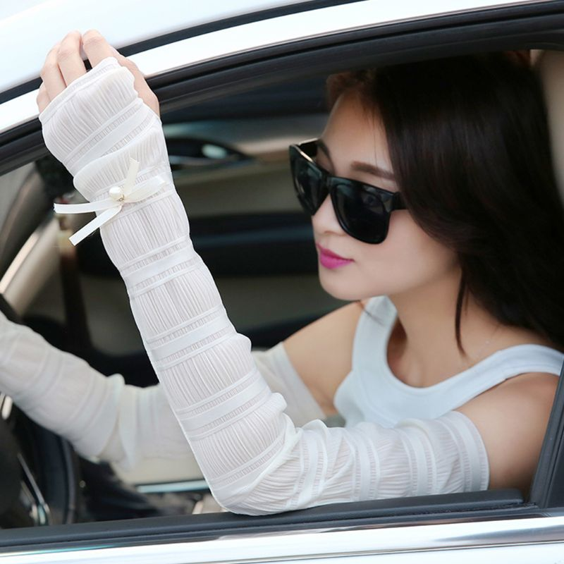Women Girls Ice Silk Pleated Ruched Half Finger Long Gloves Tiered Lace Candy Color Bowknot Arm Sleeve Protector With Thumb Hole