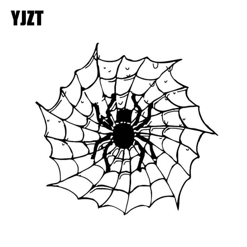 YJZT 14.2*13.4CM Cartoon Spider Insect Halloween Decor Car Stickers Silhouette Accessories Vinyl C12-1024